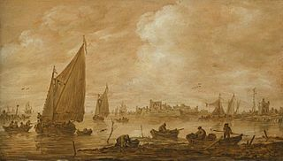 View of a Dutch Estuary with Fishermen Boats