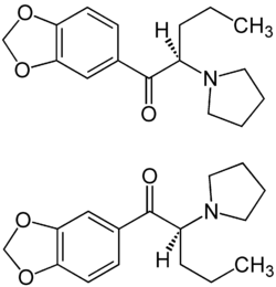 (±)-Methylenedioxypyrovalerone Enanitiomers Structural Formulae.png