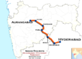 (Aurangabad - Hyderabad) Passenger train route map 01.png