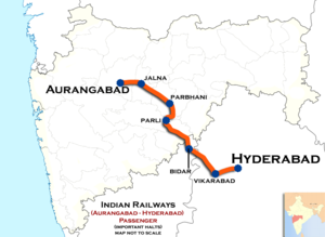 (Aurangabad - Hyderabad) Passenger train route map 01.png