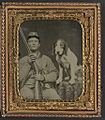 (Unidentified soldier in Confederate uniform with shotgun sitting next to dog) (LOC) (14378949850).jpg