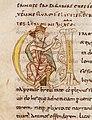 Éginhard Vita Caroli magni imperatoris-Lettrine V historiée Charlemagne assis.jpg