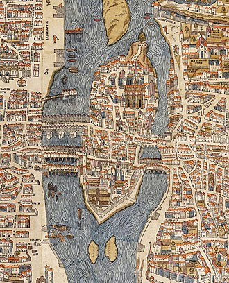 Paris in the 16th century - The center of Paris in 1550, by Olivier Truschet and Germain Hoyau.