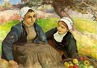 Two Breton women with a basket of apples.