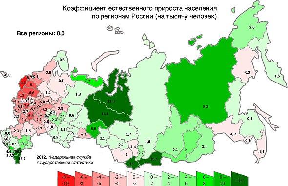 Карта убыли/прироста населения