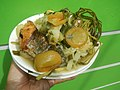 0099Nilagang repolyo, petsay Tagalog, kamote, patatas, kamatis at Pritong Dalag (Bulig) sa tanglad 34.jpg