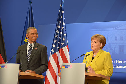 Merkel with Barack Obama in Hannover, Germany, April 2016 01-Besuch von US-Prasident Obama 2016 in Deutschland - Hannover - Pressekonferenz 32.JPG