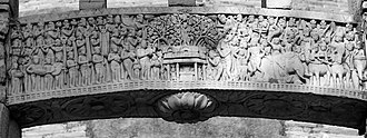 Relief depicting King Ashoka visiting the Bodhi Tree