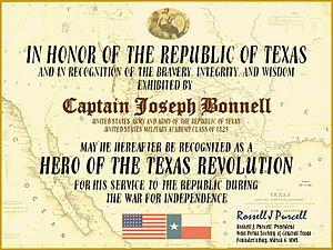 Joseph Bonnell - Image: 0305 JBD Certificate