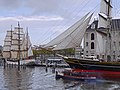 0 Sailing ships in the harbor water of the Oosterdok in Amsterdam city, Netherlands.jpg