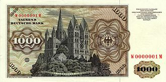 Limburg Cathedral - The Cathedral portrayed on the reverse side of a 1000 DM banknote.