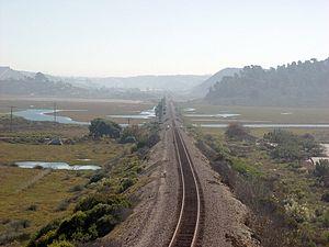 Los Peñasquitos Lagoon - Railroad causeway crossing Los Peñasquitos Lagoon