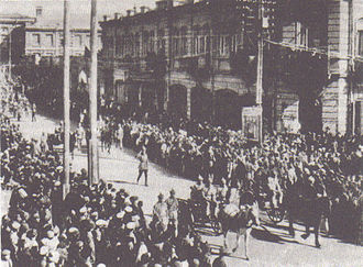 First Republic of Armenia - Members of the Soviet 11th Red Army marching down Yerevan's Abovyan Boulevard, effectively ending Armenian self-rule.