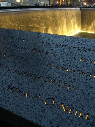 John P. O'Neill - O'Neill's name is located on Panel N-63 of the National September 11 Memorial's North Pool.