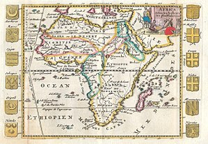 Atlantic Ocean - The Aethiopian Ocean in a 1710 French map of Africa