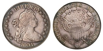 Both sides of a coin depicting an allegorical woman and a heraldic eagle