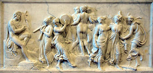 Hesiod - The Dance of the Muses at Mount Helicon by Bertel Thorvaldsen (1807). Hesiod cites inspiration from the Muses while on Mount Helicon.