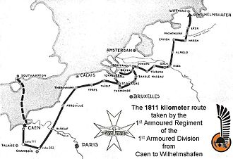 1st Armoured Regiment (Poland) - The 1811 kilometer route taken by the 1st Armoured Regiment from landing in Normandy to the end of the war in Germany.