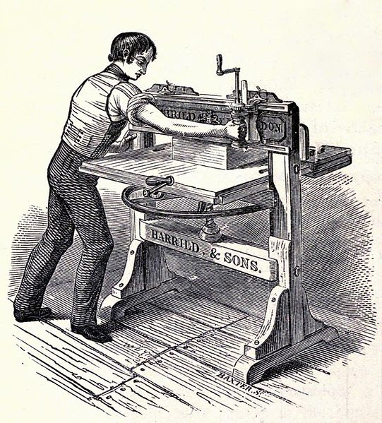پرونده:1820s paper cutter, woodcut engraving by George Baxter.jpg