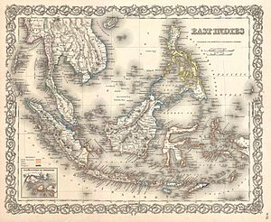 """Names of Indonesia - The region that is today identified as Indonesia has carried different names, such as """"East Indies"""" in this 1855 map."""
