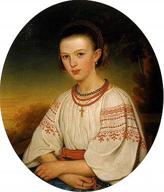 Ukrainians - Portrait of Ukrainian woman in national dress, 1860.