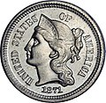 1871 Proof Three-cent nickel obverse.jpg