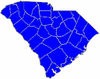 Blue counties were won by Hampton