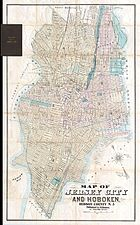 1886 Dripps Map of Hoboken and Jersey City, New Jersey - Geographicus - HobokenJerseyCity-dripps-1886