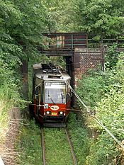 188 Silesian Interurbans, 105N car, Chebzie-tunnels.jpg