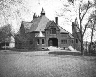 Belmont Public Library - The former Belmont Town Hall and Public Library in 1899.