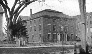 Newburyport Public Library - The Tracey Mansion as public library, 1899. The tree to the left, where the modern wing now is, is a massive colonial elm, which must have been standing when George Washington stayed as a guest there.