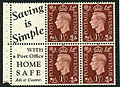 1937 1½d dark colours advertising booklet pane Saving is Simple SG 464b.JPG