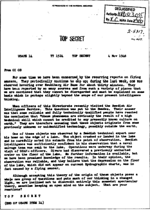 Extraterrestrial hypothesis - November 1948 USAF Top Secret document citing extraterrestrial opinion.