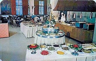 Buffet - Dinner buffet in Americus Hotel (1955)