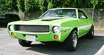 "Shows front view of a neon green 1969 ""Mod"" Javelin customized with a grille from an AMX"