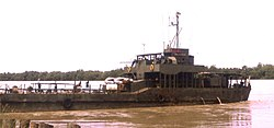 The large landing craft NRP Alfange supplying the garrison of Bambadinca 1973. In the Portuguese Colonial War, village was an important Portuguese base