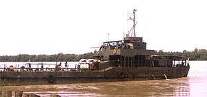Brown-water navy - The large landing craft NRP Alfange supplying the garrison of Bambadinca, Portuguese Guinea, in the early 1970s.