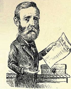 Gordon Sprigg - An early cartoon of John Gordon Sprigg holding the national budget. Sprigg's terms in office were often characterised by a notoriously unsustainable fiscal policy.