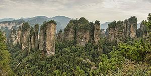 Wulingyuan - Panorama of the Five Fingers Peak of Huangshizhai