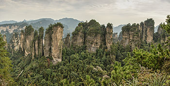 Panorama of the Five Fingers Peak of Huangshizhai