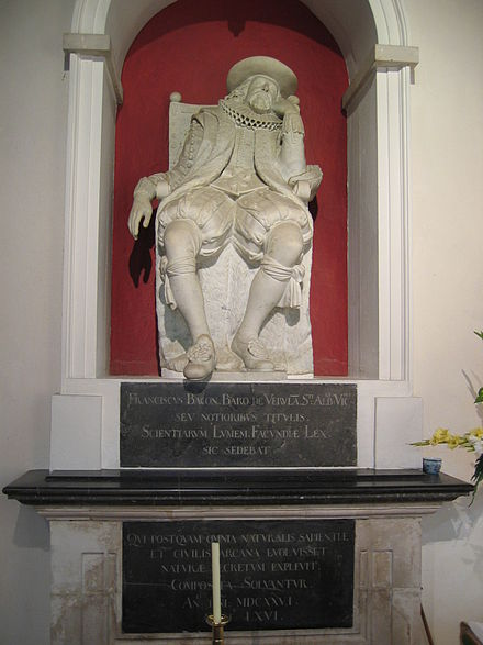 Monument to Bacon at his burial place, St Michael's Church in St Albans 20040912-001-francis-bacon.jpg