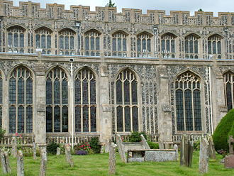Flushwork - Elaborate 15th-century flint and limestone flushwork at Holy Trinity Church in Long Melford