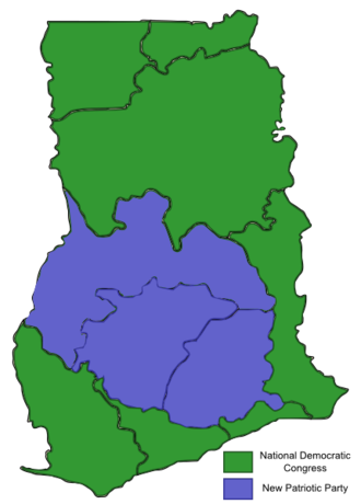 Ghanaian general election, 2008 - Image: 2008 Ghanaian General Election Map