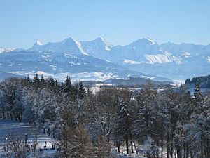 Canton of Bern - The Bernese Alps with Eiger, Mönch and Jungfrau, view from Gurten, Bern in winter