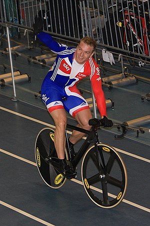 Chris Hoy - Hoy celebrates winning the kerin at the 2010 UCI Track Cycling World Championships in Ballerup, Denmark