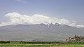 2014 Prowincja Ararat, Widok na Wielki Ararat i klasztor Chor Wirap (02).jpg