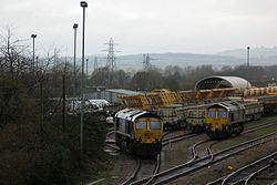 2014 Taunton track renewals - Fairwater Yard, Freightliner 66623 and 66524.JPG