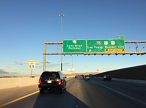 Las Vegas Beltway - View east at the east end of I-215 in Henderson