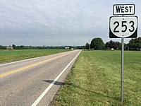 2016-06-26 09 22 29 View west along Virginia State Route 253 (Port Republic Road) just west of U.S. Route 340 (Southeast Side Highway - Stonewall Jackson Memorial Highway) near Port Republic in Rockingham County, Virginia.jpg
