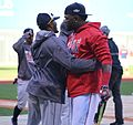 2016-10-10 Rajai Davis and David Ortiz before game 05.jpg